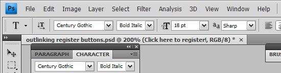 Photoshop CS4's custom chrome and square tabs
