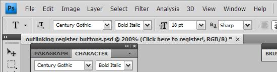Photoshop CS4's custom chrome and square tabs
